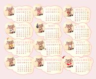 Calendar for 2015. Beautiful calendar for 2015 with different sheep Stock Image