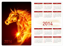 Calendar 2014. Calendar 2014 with beautiful fire horse image Royalty Free Stock Photo