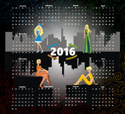 Calendar 2016. Beautiful girl in a gray city stock illustration