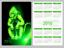 Calendar 2016. With beautiful green fire monkey image Royalty Free Stock Photo