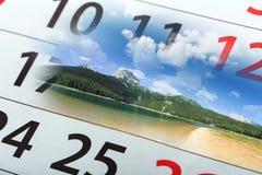 Calendar  with beautiful  landscape Stock Image