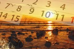 Calendar  with beautiful  landscape Stock Photo