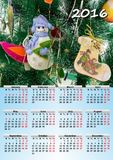 Calendar 2016 A4. A beautiful calendar for 2016 with New Year's background Royalty Free Stock Image