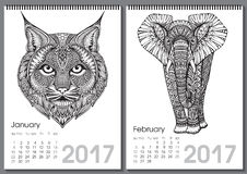 Calendar 2017. Beautiful ornate hand drawn animals. For every month. Vector illustration. Two months lists january, february with elephant, bobcat Stock Illustration