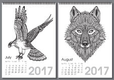 Calendar 2017. Beautiful ornate hand drawn animals. For every month. Vector illustration. Two months lists july, august with eagle, wolf Royalty Free Illustration