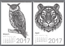 Calendar 2017. Beautiful ornate hand drawn animals. For every month. Vector illustration. Two months lists march, april with owl, tiger Vector Illustration