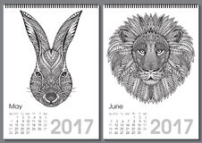 Calendar 2017. Beautiful ornate hand drawn animals. For every month. Vector illustration. Two months lists may, june with rabbit, lion Vector Illustration