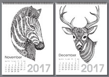 Calendar 2017. Beautiful ornate hand drawn animals. For every month. Vector illustration. Two months lists november, december with zebra, deer Royalty Free Illustration
