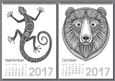 Calendar 2017. Beautiful ornate hand drawn animals. For every month. Vector illustration. Two months lists september, october with lizard, bear Vector Illustration