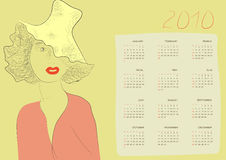 Calendar with a beautiful woman Stock Photo