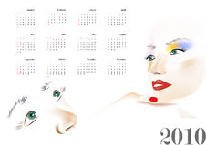 Calendar with a beautiful woman Stock Photography
