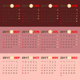 2017 calendar on beauty pink gold template Royalty Free Stock Photo