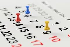 Calendar begreppet för upptagen, tidsbeställnings- och mötepåminnelse framförande 3d Arkivbild
