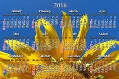 Calendar for 2016 with big sunflower Royalty Free Stock Photos