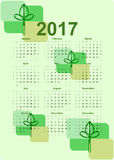 2017 calendar, Biological Design. Design of Biological 2017 calendar. All months of year are displayed. Nature artwork with green tones Royalty Free Stock Images