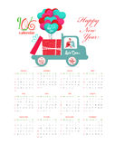 Calendar 2016 with bird carrying a gift on the car.  royalty free illustration
