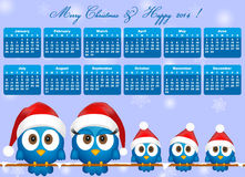 2014 calendar with bird family. 2014 calendar with funny blue birds family Stock Photo