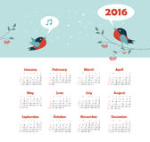 Calendar for 2016 with bird Stock Photos