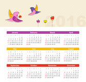 Calendar for 2016 with bird. Week Starts Sunday. Stock Photo