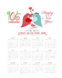 Calendar 2016 with birds kissing.  Stock Illustration