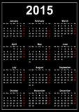 Calendar 2015 on a black background. Illustration Stock Photo