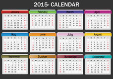 Calendar-2015. Black background 2015 calendar in us style, start on sunday, each month with individual table vector illustration