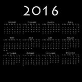 Calendar for 2016 on black background. Vector EPS10 Royalty Free Stock Image