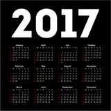 Calendar for 2017 on black background. Vector EPS10 Stock Illustration