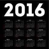 Calendar for 2016 on black background. Royalty Free Stock Image