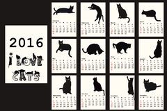 2016 Calendar with black cats. Silhouettes royalty free illustration