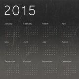 Calendar 2015 on black chalkboard background. Vector Royalty Free Stock Photos