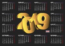 2019 calendar in black english horizontal UK Royalty Free Stock Images