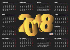 2018 calendar in black english horizontal UK stock images