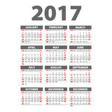 2017 Calendar Black - illustrationVector template of 2017 calendar. 2017 Calendar Black - illustration Royalty Free Stock Photography