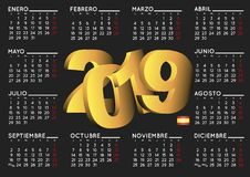 2019 calendar in black spanish horizontal Stock Image