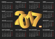 2017 calendar in black spanish horizontal. 2017 elegant black calendar in spanish. Year 2017 calendar. Calendar 2017. calendario 2017 Stock Image