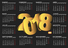 2018 calendar in black spanish horizontal Stock Photography