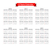 2016 - 2021 Calendar Black text on a white background Stock Photography