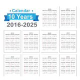 2016 - 2025 Calendar Black text on a white background vector. 2016 2017 2018 2019 2020 2021 2022 2023 2024 2025 Calendar Black text on a white background Vector stock illustration