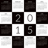 Calendar 2015. Calendar for 2015 in black and white modern square design Royalty Free Stock Images