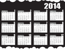 2014 Calendar Black & White Stock Image