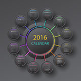 The 2016 calendar. Black 2016 year circle calendar infographic style Royalty Free Stock Photography