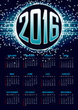 Calendar for 2016 on blue abstract background. With circle surrounded by flare shimmering particle luxurious pattern. Vector illustration stock illustration
