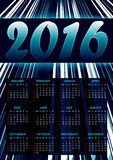 Calendar for 2016 on blue abstract background with glittering stripes Royalty Free Stock Photography