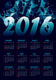 Calendar for 2016 on blue abstract polygonal. Space low poly dark background with connecting dots and lines.Vector illustration vector illustration
