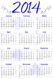 2014 Calendar Blue Accent. 12 month calendar for the year 2014 with blue accents Royalty Free Stock Images