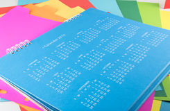 Calendar of 2016 on blue background.  Royalty Free Stock Photos