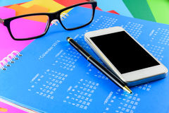 Calendar of 2016 on blue background.  Royalty Free Stock Photography