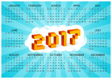 2017 calendar on a blue background in style of old 8-bit video games. Week starts from Sunday. Сolorful 3D Pixel Letters Stock Photo