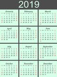 2019 calendar in blue background. stock images
